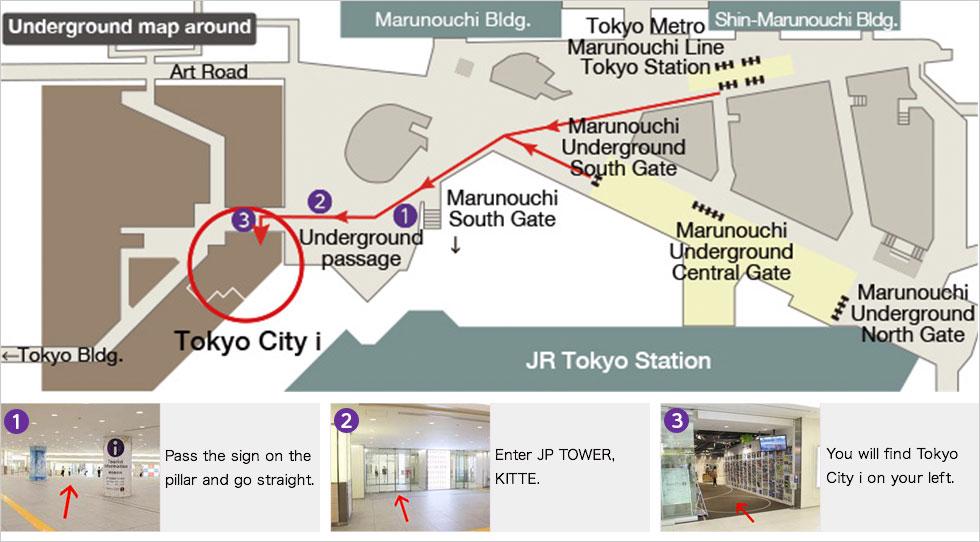 Access from Tokyo Station underground passge (B1)